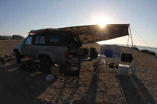 After that I made camp on the western most tip of Baja. It is called Punta Eugenia.  I finally worked out my awning. Still no waves.