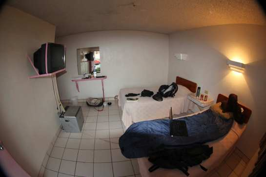 The room was not to bad for twenty dollars. No hot water and the TV only had one channel with a big black box in the center of the screen, and bad audio. They did have free internet which was nice, and they did not seem to mind that Hunter was staying here as well.