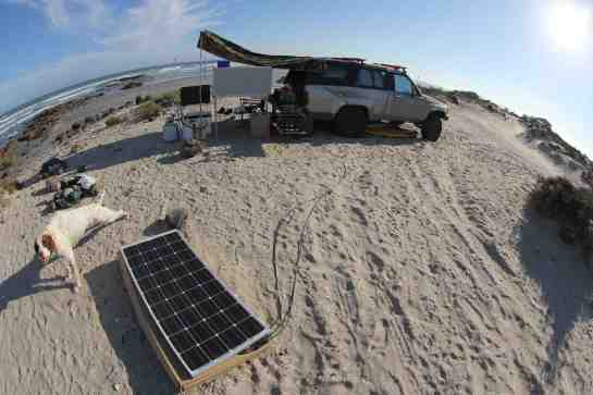 With a few days of no surf I finally set up my solar panel. Everything works well. I can fully rechage my battery in one day.