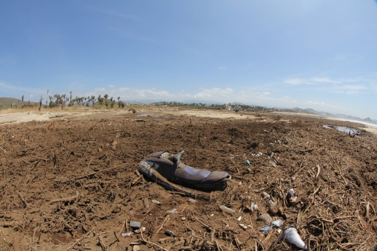 This shot was taken just a little ways down the beach for the abandoned restaurant. This was the mouth of the arroyo.  All this debris is cactuses and trees that got washed down the arroyo. Someone that built to close to the arroyo lost this Jet Ski. I have to walk through this now when I go surfing.