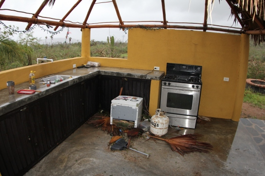 5.When I enter the kitchen I see the wind has blown away almost everything that was in there. I see the bottle of mescalito made it. The microwave is gone, but the cord is still plugged in. The refrigerator is on the floor. Luckily I had all my dry food inside the oven to protect it from the dogs.