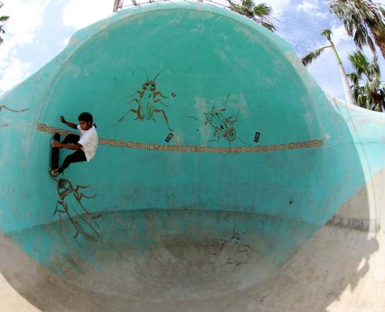 Here he is getting vertical in the 360 bowl. So in conclusion, if you want to surf 12 foot barrels by yourself, or would like to skate the largest park I have ever seen by yourself, all you have to do is find your way to this secret spot.