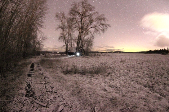 Twas the night before Christmas and my father and I were out in the freshly snow covered meadow shooting night photography.